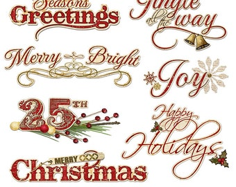 Christmas Digital Word Art Clipart - Holiday Sayings Digital Scrapbook Titles Printable - Digital graphics - PNGs - Instant Download