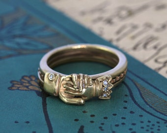 Fede Gimmel Ring, Engraved Lovers Motto, 14K Rose & Yellow Gold Diamonds, Hands Clasped Secret Heart, Posy Wedding Band, Engagement Ring