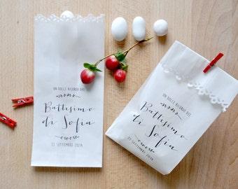 Kit of 10 custom kraft bags for weddings and baby shower