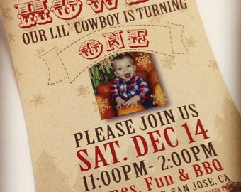 Cowboy Party Invitations Download - Cowboy Theme Birthday Party Decorations Digital File - Customize your Text!