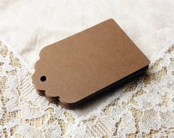 25 BROWN Hang Tags, Favor Tags, Gift Tags, Die cuts Scrapbook 2.25x1.5 in, cardstock