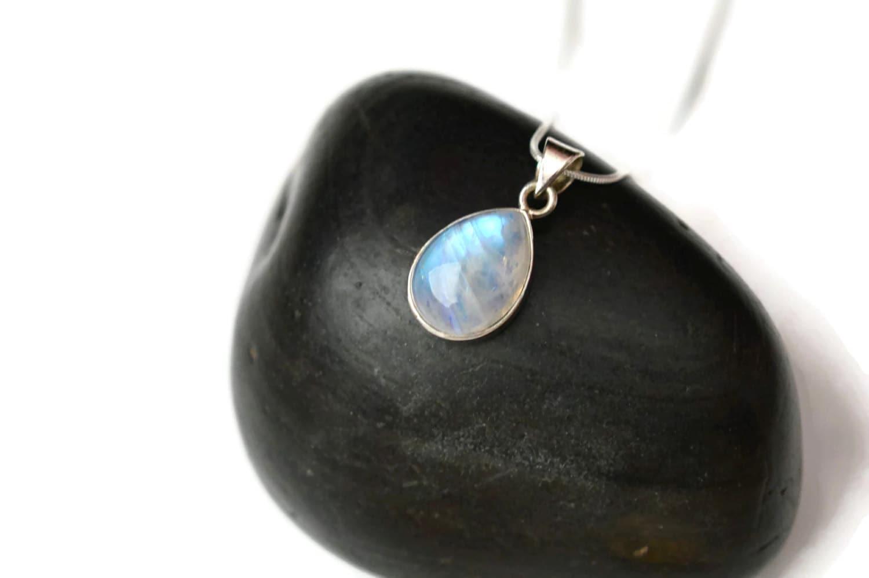 Rainbow Moonstone Silver Pendant Necklace Silver Tear Drop