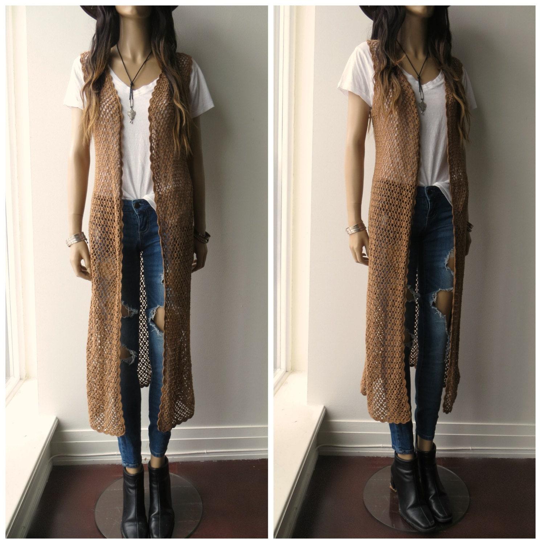 Knitting Pattern Long Sleeveless Cardigan : CROCHET open weave Knit Long Duster Hippie Boho sleeveless