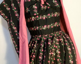 FREE SHIPPING 1950's [EARLY] Strapless 2 Piece Dress Ensemble