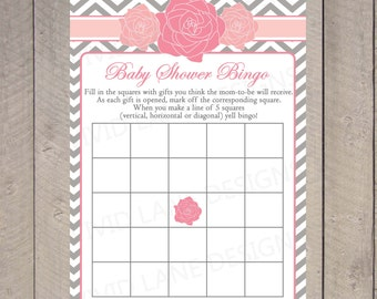 Roses Baby Shower Bingo Card, INSTANT DOWNLOAD, Pink and Grey, Girl Baby Shower Game, Flowers, Chevron, Printable Bingo Card - 044