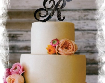 """5"""" or 6""""  Beautiful Single Monogram letter Cake Topper ( Special Custom Made Initial Wedding Topper )"""