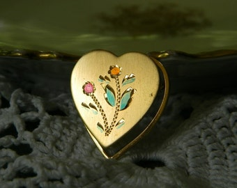ViNTaGe GOLD FiLL HEART PiN BRooCH ETCHeD Painted FLoWeRs FLoRaL 12K GF