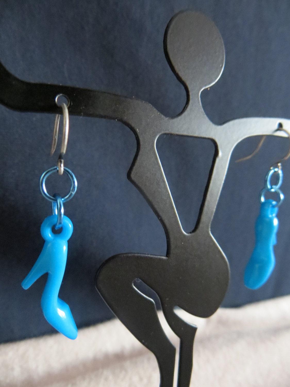 shoe earrings blue acrylic high heel stiletto by