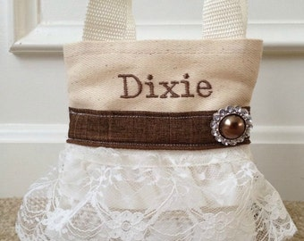 Burlap Flower Girl Purse, Flower Girl Gift, Birthday Gift, Burlap Wedding, Will You Be My Flower Girl