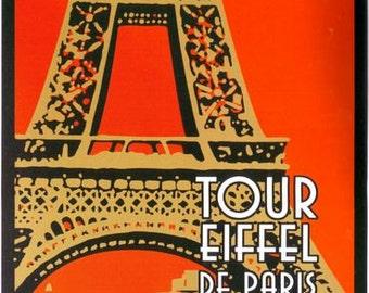 Vintage Eiffel Tower Paris Travel Poster Digital Print Various Sizes