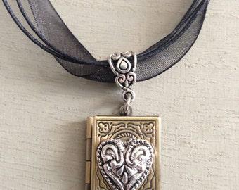 Valentine's Day Steampunk Goth Silver Heart Antique Brass Locket