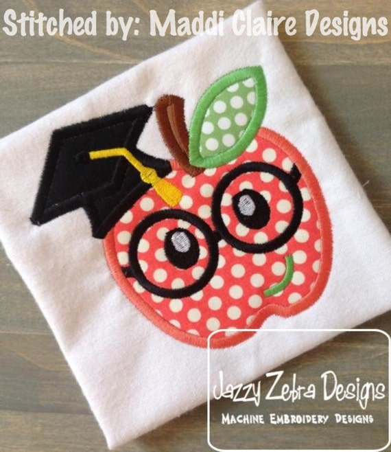 Apple wearing Graduation Cap and Eyeglasses Appliqué embroidery Design - apple appliqué design - school appliqué design