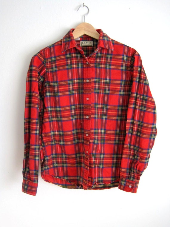 Vintage ll bean plaid flannel women 39 s shirt size 10 for Ladies soft flannel shirts