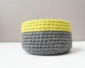 Neon Color Block Basket / Grey and Neon Stripe / Crochet Neon Bowl / Neon Green Yellow Crochet Basket