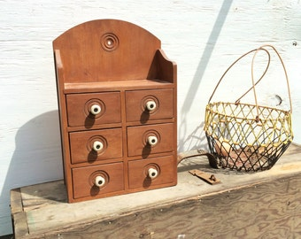 Amazing Vintage Six Drawer Wood Apothecary Style Wall Hanging Spice Cabinet With  Porcelean Knobs U0026 Small Shelf