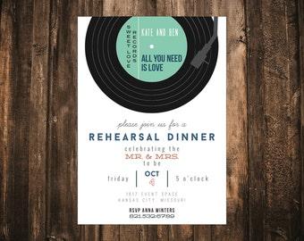 Record Wedding Rehearsal Dinner Invitation // DIY Printable // Modern Invitation