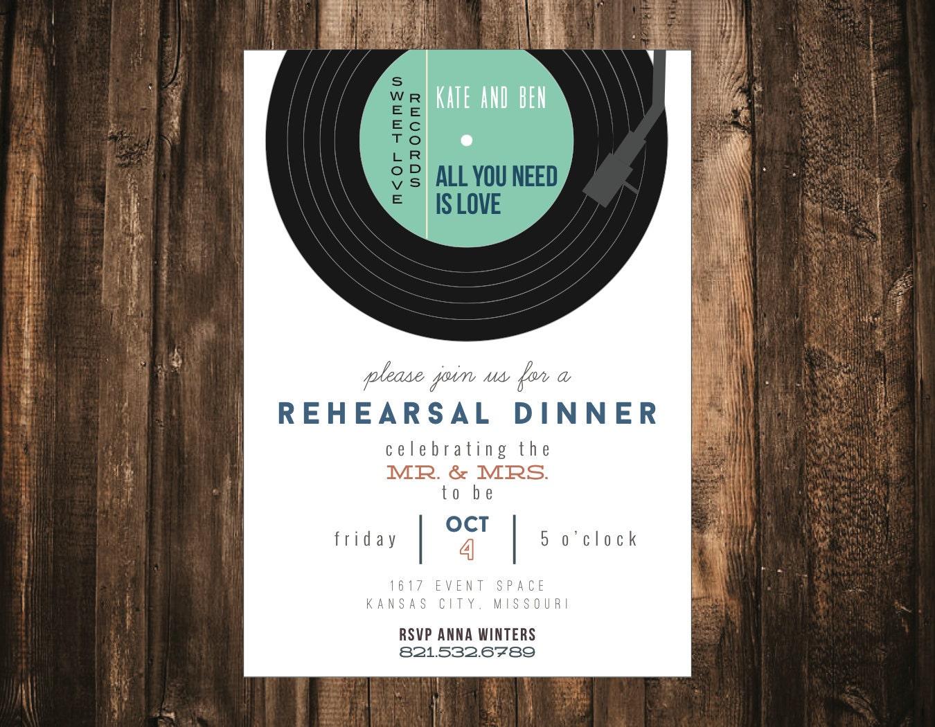 Record Wedding Invitations: Record Wedding Rehearsal Dinner Invitation // 10 Printed Sets