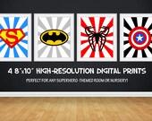 SALE 25% OFF Superhero Wall Art, Superhero Posters, Bedroom Prints Nursery Prints Superheroes Digital Art Printables 4 - 8x10 Digital Prints