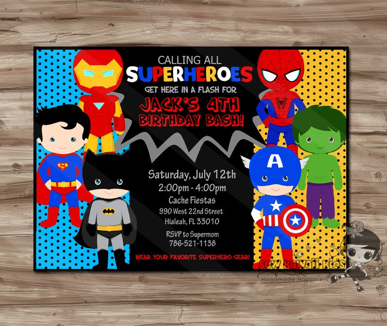 Superhero invite | Etsy
