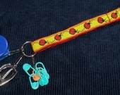Crafter's Chatelaine - Red Embroidered Ladybugs on Yellow Ribbon