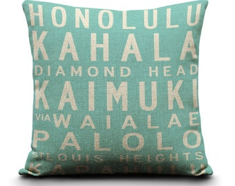 18x18in Oahu Bus Scroll Burlap Style Linen Pillow Cover