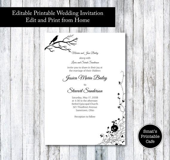 Halloween wedding invitation template diy printable gothic for Free printable gothic wedding invitations