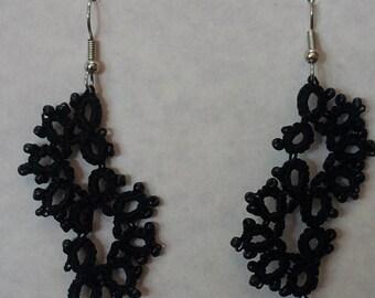 Black Tatted Beaded Earrings