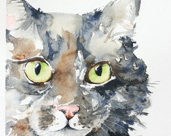 custom pet portrait, original watercolor painting, dog or cat painting, handmade gift/present.