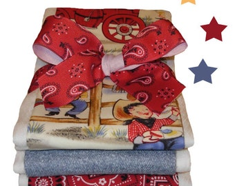 Vintage Cowboy Burp Cloths - Baby Shower Gift