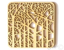 Laser Cut Wood Coasters. Birch Coaster. Tree Style