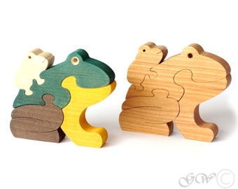 Wooden Puzzle Frog, Wooden toys. Wooden Animal Puzzle M212