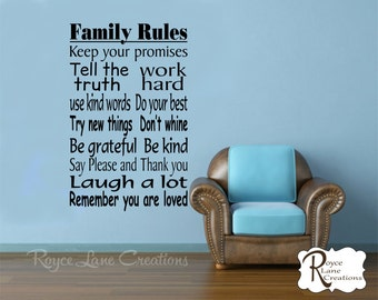 Family Rules 3 Vinyl Family Wall Decal