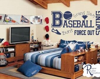 Baseball Wall Decal B13 Sports Vinyl Wall Decal Baseball Boys Room Teen Boy Room Decor Wall Art Baseball Decor Baseball Wall Decal