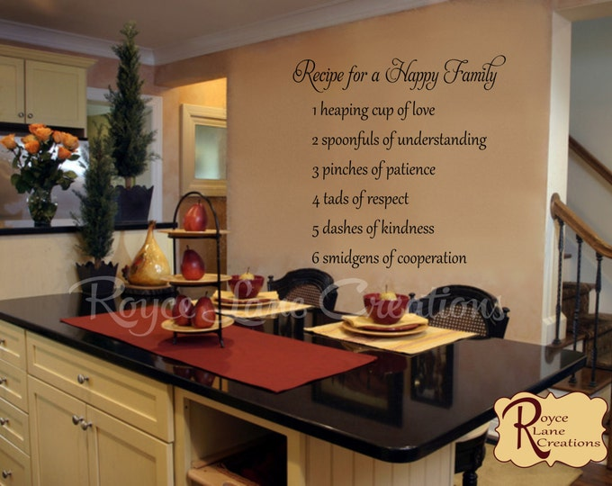 Kitchen Wall Decal- Recipe for a Happy Family  Kitchen Wall Decal- Kitchen Wall Decor- Kitchen Wall Art
