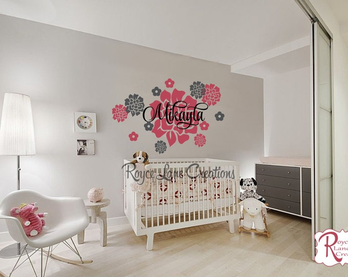 Nursery Name Decal -Peony Flowers with Personalized Name Wall Decal For Girls Nursery or Teen Room Decor Nursery Decor- Nursery Art
