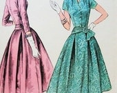 50s ELEGANT Cocktail Evening Party Dress Pattern McCalls 3102 Draped V Neckline, Box Pleated Full Skirt Vintage Sewing Pattern Bust 32