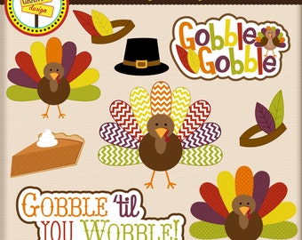 Thanksgiving Clipart - Turkey Clip Art - Cute Digital Clipart - Thanksgiving Word Art - Card Design, Scrapbooking,  Web Design
