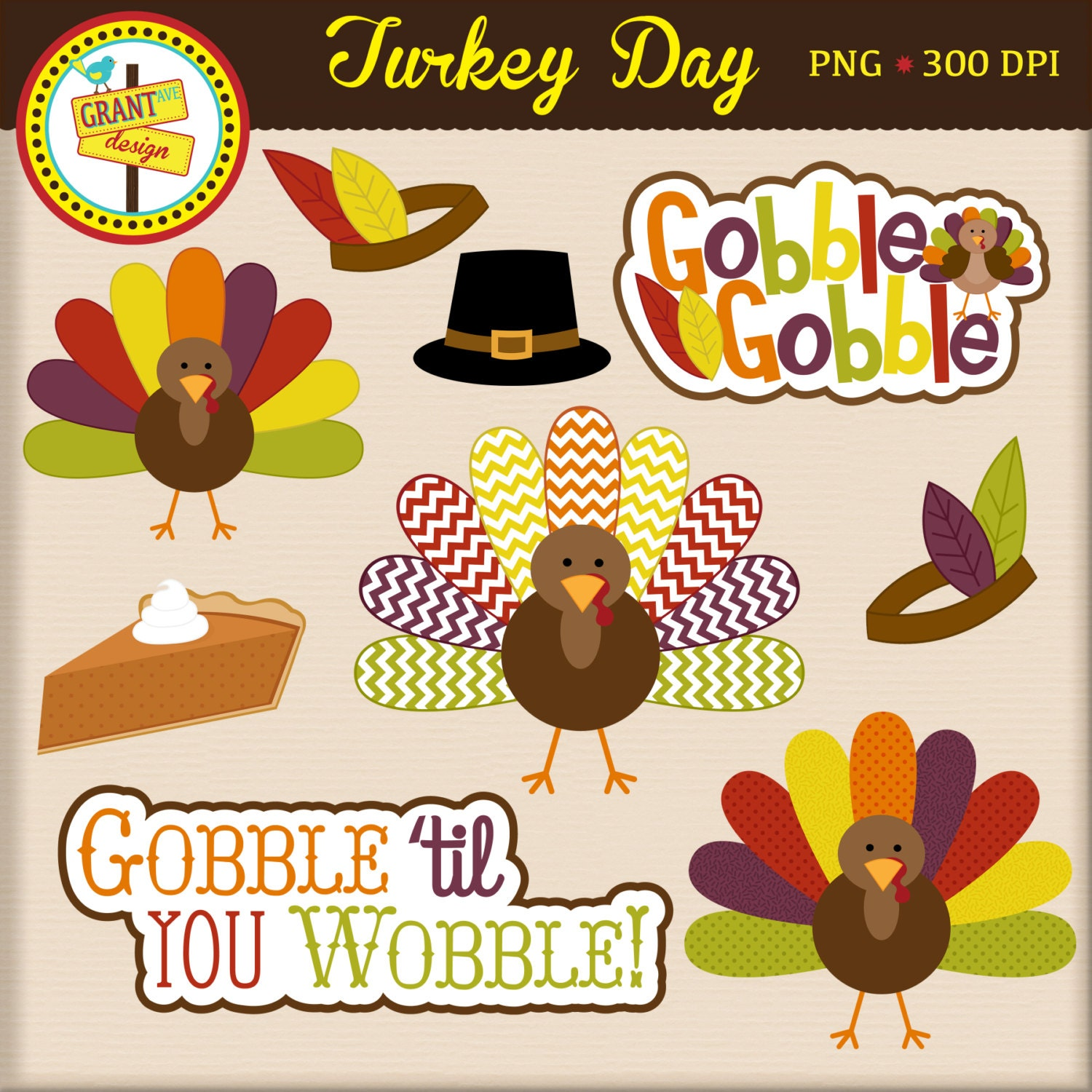 Thanksgiving Clipart Turkey Clip Art Cute Digital Clipart