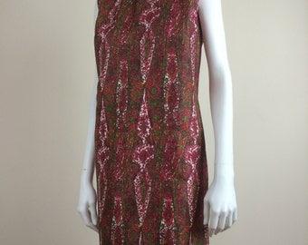 intricate paisley print silk shift dress