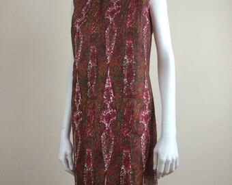 intricate paisley print silk shift dress 60s