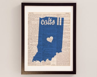 Indianapolis Colts Dictionary Art Print - Football Art - Print on Vintage Dictionary Paper - Horseshoe - Andrew Luck - Indiana Football