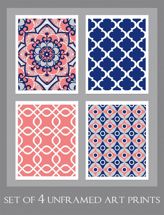 Items Similar To Navy And Coral Art Coral And Navy Decor Bedroom Art Set Of 4 8x10 Prints