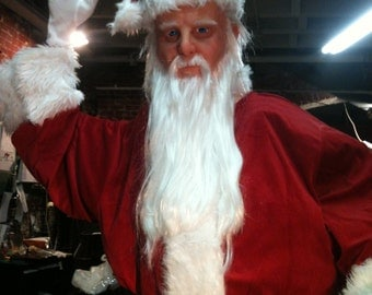 Ultra Realistic, Life Size, Waiving, Santa Figure With Silicone Skin