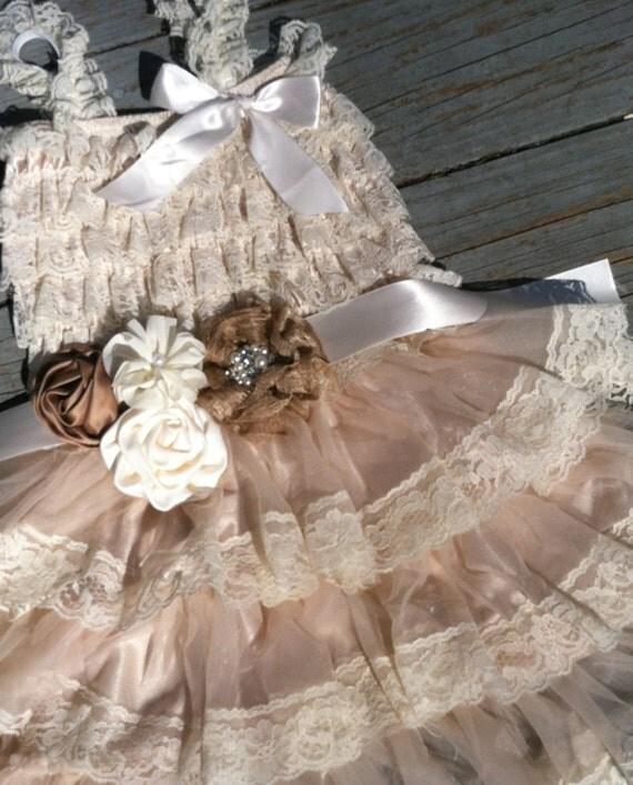 Items Similar To Rustic Flower Girl Dress Cream Tan Ivory