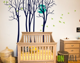 Full Moon - Large Nurseryset of  birch tree vinyl wall decal sticker with birds stickers - M021