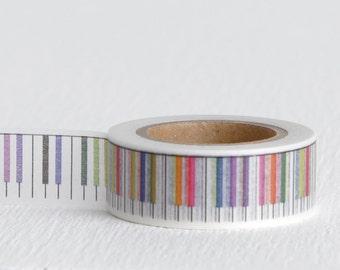 Rainbow Piano Keys Washi Tape, Music or Choir Decorative Tape 15mm