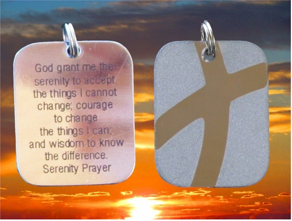 Silver Serenity Prayer DogTag Cross Crossed Roads Style Stainless Steel Women Men Boys Girls Christian Jewelry - Saint Michaels Jewelry