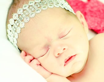 Newborn Halo Headband,Silver Baby Headband,Silver Baby Crown,Silver Headband,Flower Girl Headband,Bridal Headband,Chic Little Headband