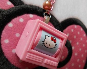 KittyTV Hello Kitty Spinning TV Television Charm Necklace - Hello Kitty, Kawaii, Pink, Baby Blue, TV, Cartoon, Cartoons, Charm Necklace