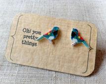 Bird earrings - Bird studs - Quirky earrings - Summer earrings - Cute earrings - Gift for her
